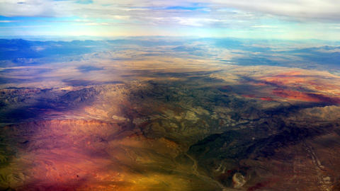 30,000 Feet over colorful desert, 4K Footage