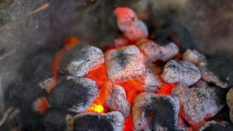 Hot burning coals in grill, 4K Footage