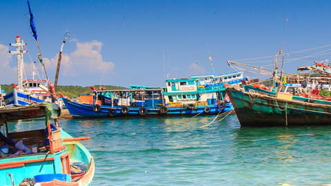 Vietnamese Fishing Boats Rock on Azure Waves in Bay Footage