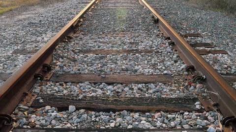 Low angle of railroad tracks (centered), 4K Footage