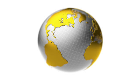 Golden silver Earth rotation, loop, DOF Animation