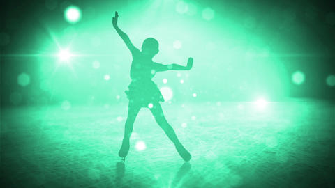 Girl on figure skates CG動画素材