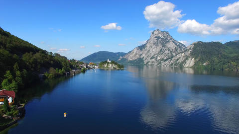 Traunsee Summer Lake Panorama (Austria) stock footage