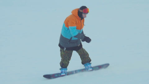 Snowboarding in the winter park Footage