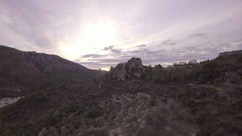 Aerial Shot Approach Towards El Castell De Guadalest - Landscape Of Guadalest At stock footage