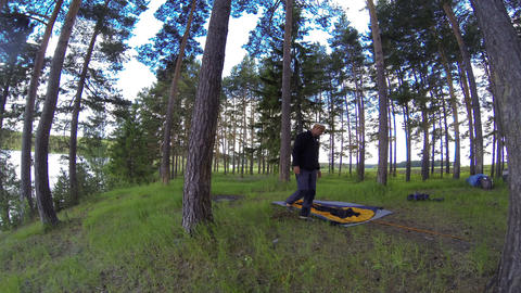 Assembling a tent on the nature. Om River, Syropyatskoe village, Kormilovsky Dis Footage