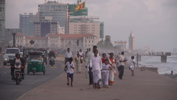People play with the waves on beach,Colombo,Sri Lanka Footage