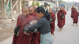 Inle Lake,Monks collecting alms,Inle,Burma Footage