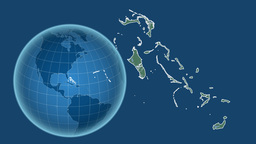 Bahamas and Globe. Relief Animation