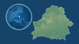 Belarus and Globe. Relief Animation