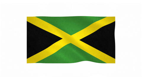 Flag of Jamaica waving on white background Animation