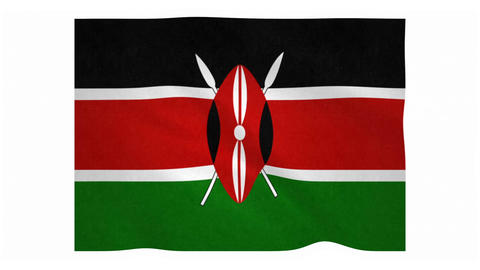 Flag of Kenya waving on white background Animation
