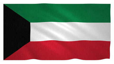 Flag of Kuwait waving on white background Animation
