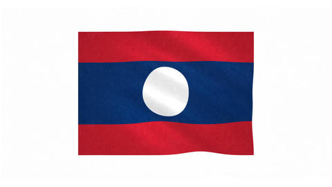 Flag of Laos waving on white background Animation