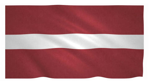 Flag of Latvia, waving on white background Animation