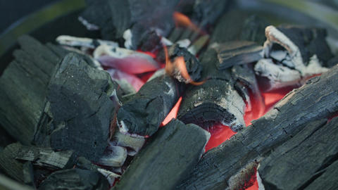 Barbecue Grill. Hot Coal and Burning Flames Footage