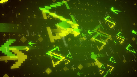 Pixel Art. Abstract Pixelated Arrows background Animation