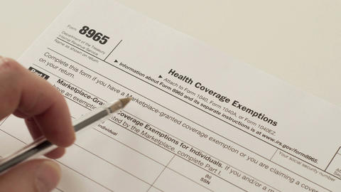 IRS Form 8965 Health Coverage Exemptions Filmmaterial