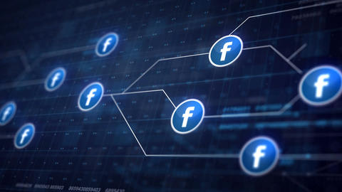 Facebook Icon Line Connection of Circuit Board Loop Animation 4K. Editorial Anim Animation