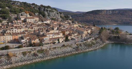 Bauduen village on Lake St. Croix, filmed by drone, France Footage
