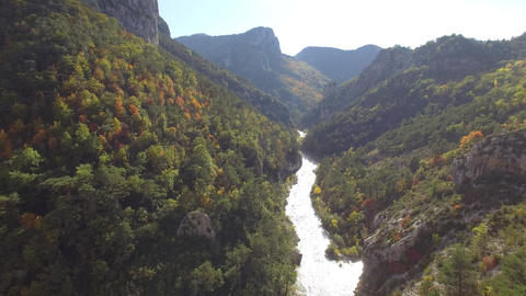 Verdon Gorges in autumn filmed by drone, Rougon, France Footage