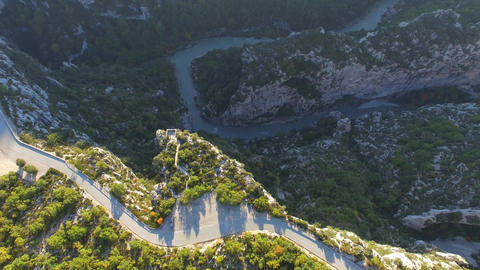 Balconies of the Mescla autumn, filmed by drone, the Verdon Gorges, Rougon, Fran Footage