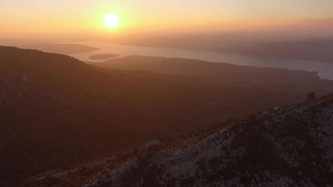 The Gorges du Verdon filmed by drone at sunset, Aiguines, France Footage