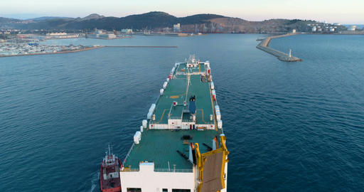 Dry cargo ship is approaching the port. Bar, Montenegro 画像