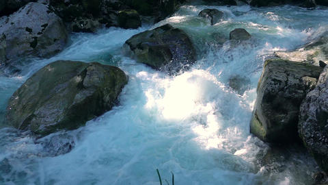 Mountain Forest River and Sunbeam. Slow Motion Footage