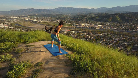 Yoga Workout Aerial Footage