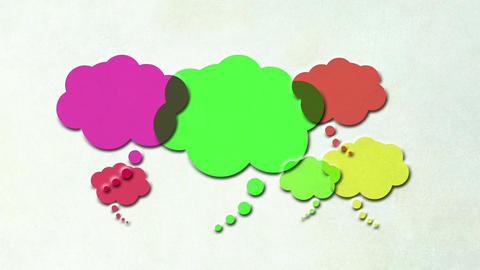 Thought bubbles with colors changing. Animated icon with copy space. Concept of  Animation