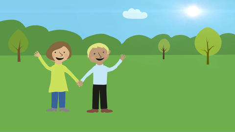 Man and woman in nature. Happy romantic couple. Animated... Stock Video Footage