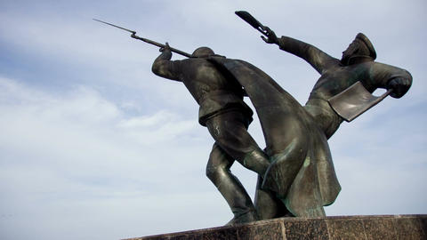 A monument to the sea paratroopers of the Second World War in the city of Feodos Live Action
