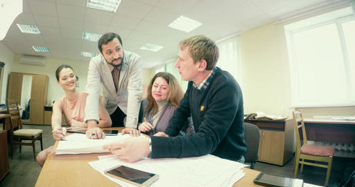 three employee with tablet work in office Footage