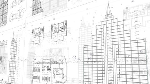 Architectural and constructional plans moving background Footage