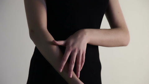 A woman touch her fingers over the arm Stock Video Footage