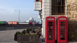 Great Britain England Southampton 05 telephone boxes and English pub Footage