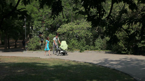 happy parents are walking with their little son in park Footage