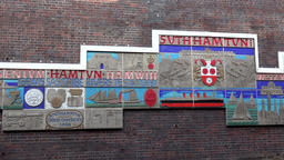 Great Britain England Southampton 25 local mosaic at wall in Hamtun Street Footage