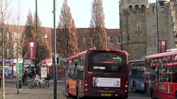 Great Britain England Southampton 33 city busses at Bargate Footage