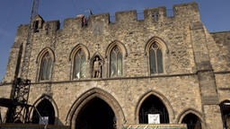 Great Britain England Southampton 38 Bargate town gate and blue sky Footage