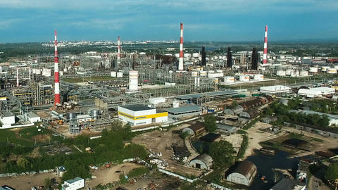 Aerial view of industrial oil refinery plant Footage
