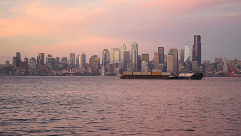 Elliott Bay Puget Sound Shimmers Dusk Seattle Washington Downtown City Skyline Footage
