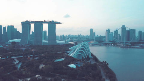 4k b-roll cinematic footage of Marina Bay Sands Singapore from aerial view Footage
