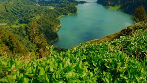 Establishing shot of the Lagoa das Sete Cidades, Azores Footage
