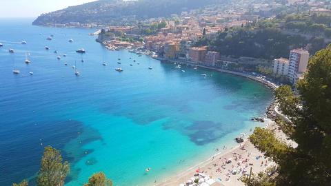 Aerial View Of Villefranche-sur-Mer In The French Riviera France Footage