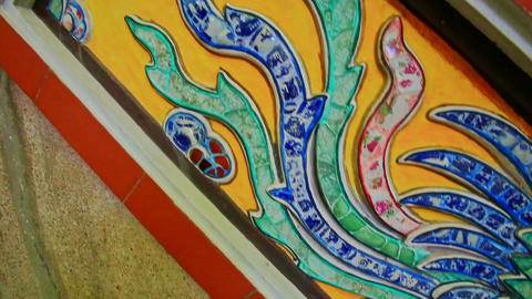 Decorative Ceramic Mosaic by Steps to Buddhist Temple Footage