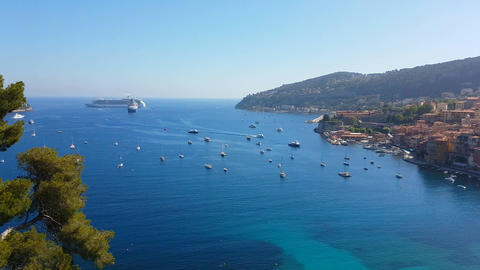 Aerial View of the Mediterranean Sea in Villefranche Sur Mer