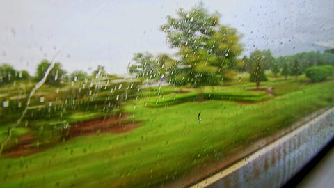 Green Landscape Through Moving Train Window with Rain Drops Footage