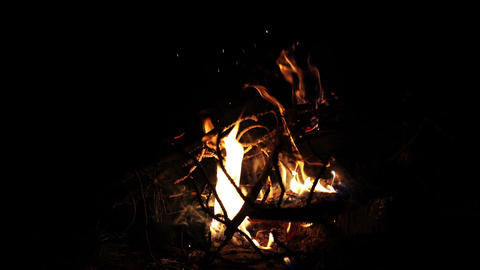 Camp Fire In The Dark Footage